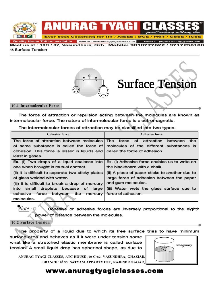 PHYSICS FREE NOTES: Surface Tension (Theory).BY ATC