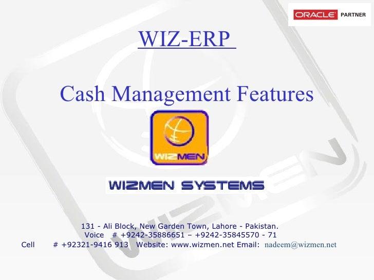 Wizmen Cash Management Features