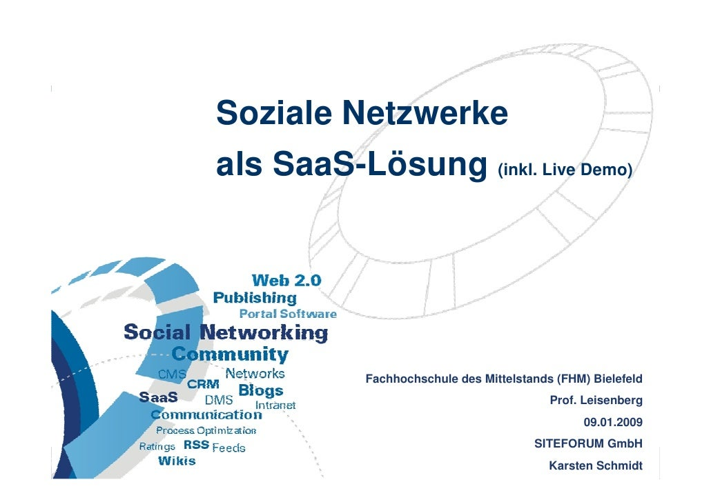 Soziale Netzwerke                       als SaaS-Lösung (inkl. Live Demo)                                         Fachhoch...