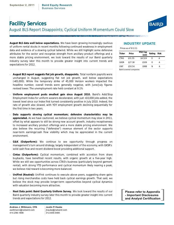 RW Baird August Analysis of Uniform Industry