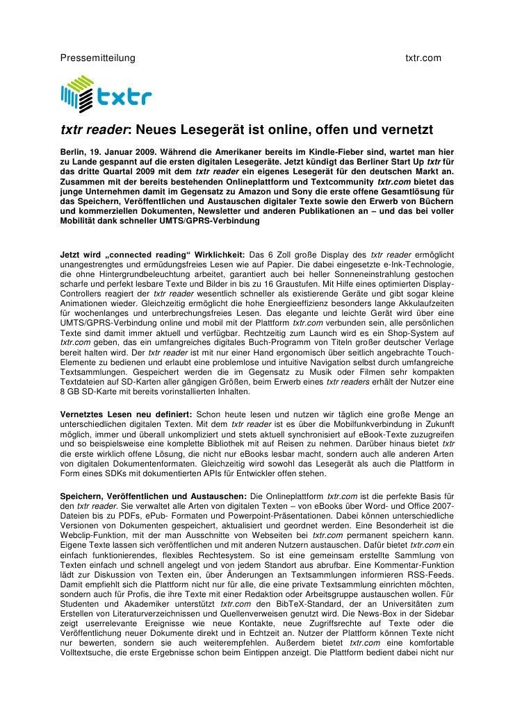 Pressemitteilung                                                                            txtr.com     txtr reader: Neue...