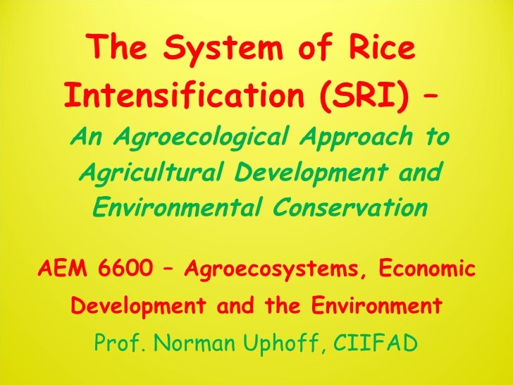 The System of Rice Intensification (SRI) An Agroecological Approach toAgricultural Development and Environmental Conservation