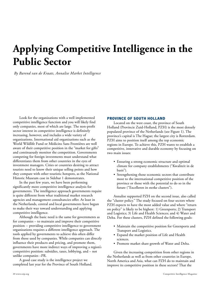 Applying Competitive Intelligence in the Public Sector  By Barend van de Kraats, Annalise Market Intelligence          Loo...