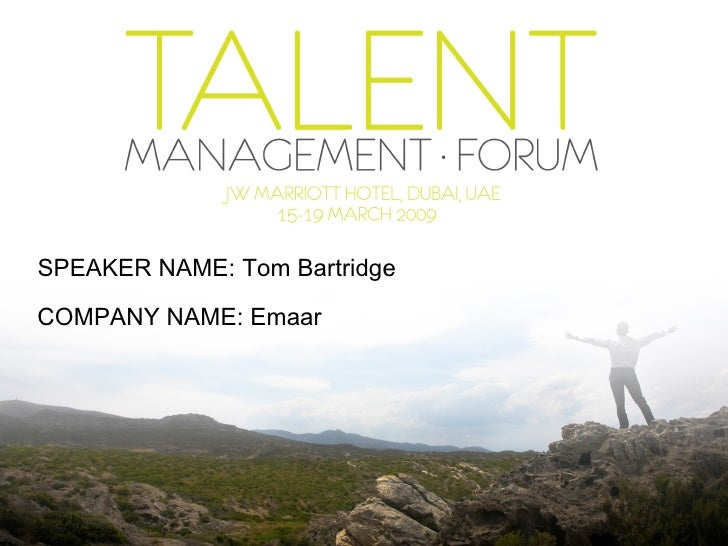 SPEAKER NAME: Tom Bartridge COMPANY   NAME: Emaar