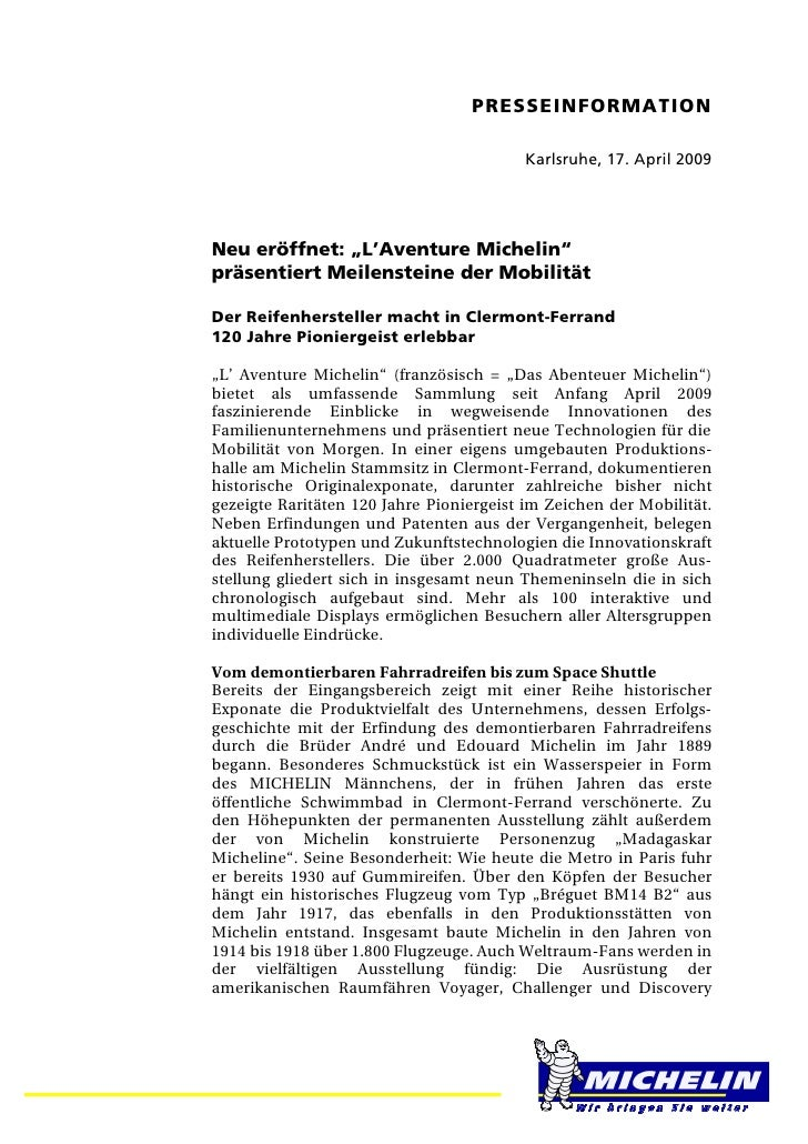 """PRESSEINFORMATION                                         Karlsruhe, 17. April 2009Neu eröffnet: """"L'Aventure Michelin""""präs..."""