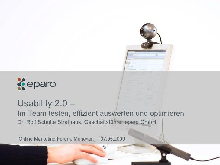 eparo – Usability 2.0 (Vortrag OMF 2009 – Rolf Schulte Strathaus)