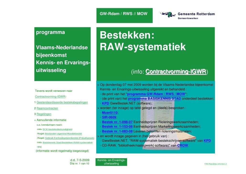 Vlaanderen en RAW-systematiek