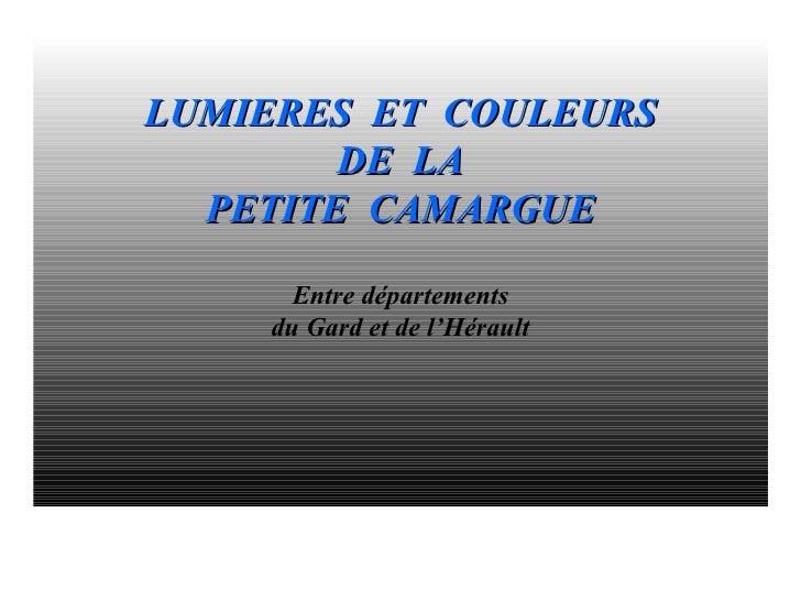 LUMIERES ET COULEURS         DE LA   PETITE CAMARGUE        Entre départements     du Gard et de l'Hérault