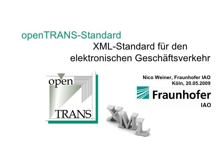 openTRANS - XML Standard für den elektronischen Geschäftsverkehr