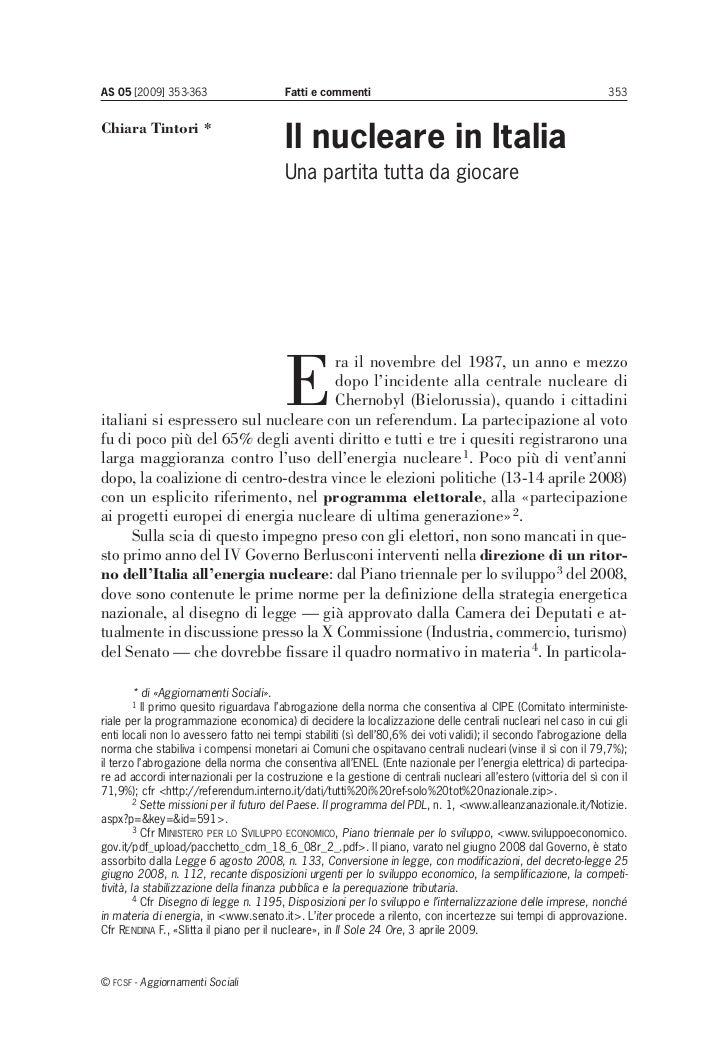 Il nucleare in Italia. Una partita tutta da giocare
