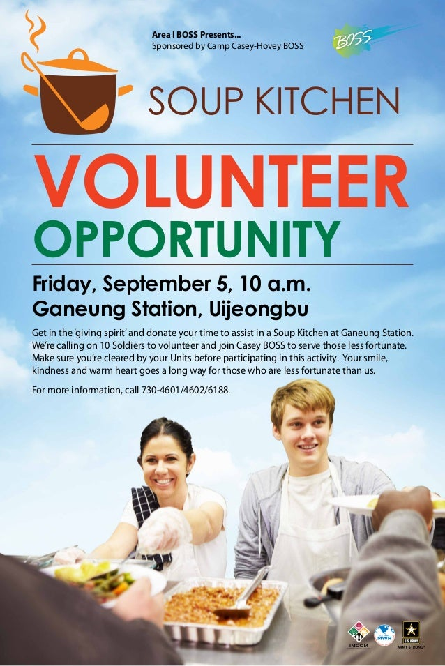 Friday, September 5, 10 a.m. Ganeung Station, Uijeongbu Get in the'giving spirit'and donate your time to assist in a Soup ...