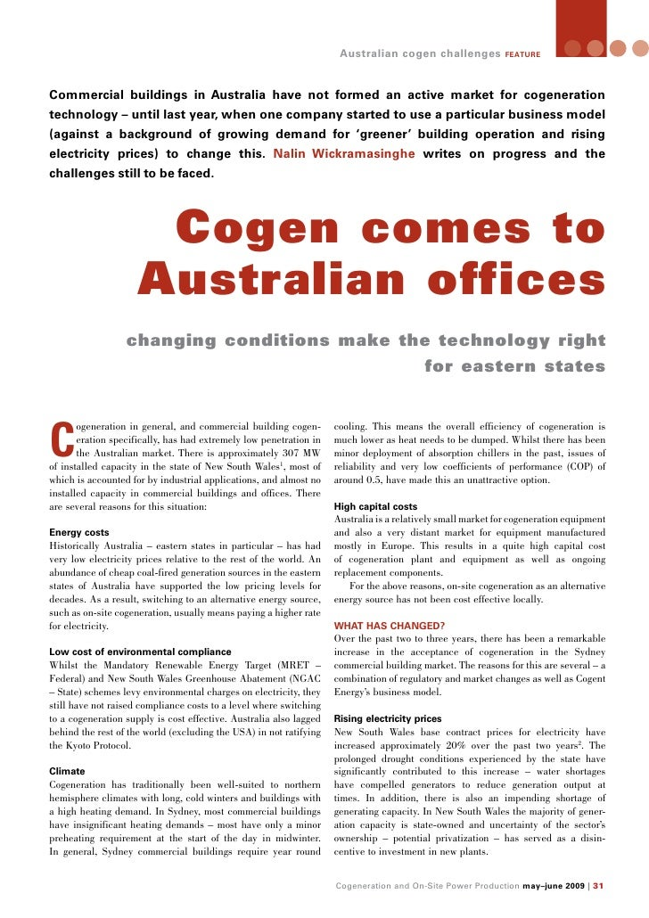 Commercial Building Cogen In Australia