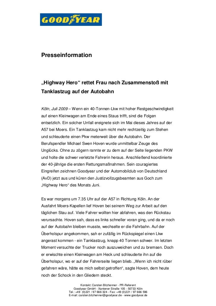 """Presseinformation""""Highway Hero"""" rettet Frau nach Zusammenstoß mitTanklastzug auf der AutobahnKöln, Juli 2009 – Wenn ein 40..."""