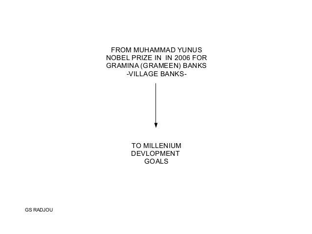 FROM MUHAMMAD YUNUS NOBEL PRIZE IN IN 2006 FOR GRAMINA (GRAMEEN) BANKS -VILLAGE BANKS- TO MILLENIUM DEVLOPMENT GOALS GS RA...
