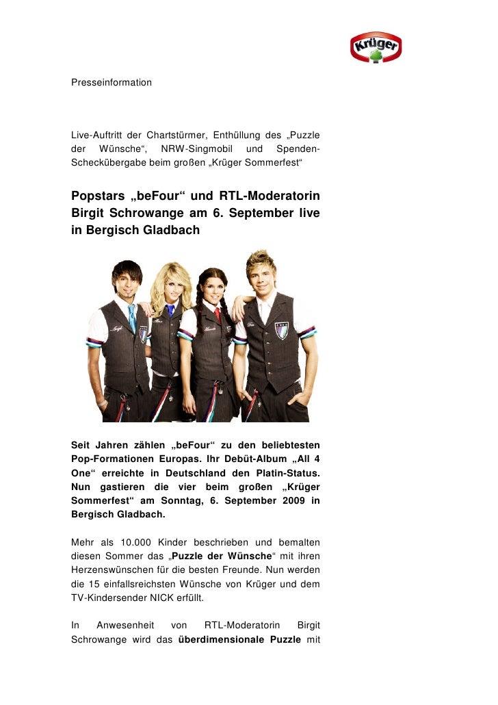"""PresseinformationLive-Auftritt der Chartstürmer, Enthüllung des """"Puzzleder Wünsche"""", NRW-Singmobil und Spenden-Schecküberg..."""