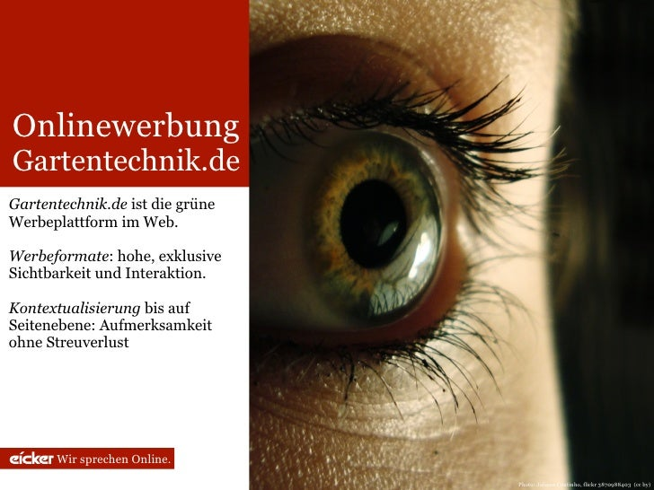 Onlinewerbung Gartentechnik.de Gartentechnik.de ist die grüne Werbeplattform im Web.  Werbeformate: hohe, exklusive Sichtb...