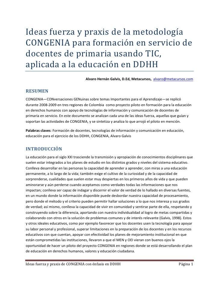 Ideasfuerzaypraxisdelametodología CONGENIAparaformaciónenserviciode docentesdeprimariausandoTIC, aplicad...