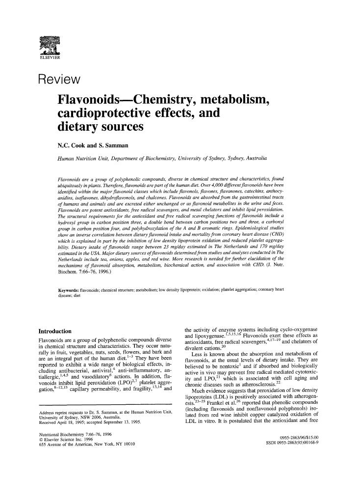 ELSEVIER    Review          Flavonoids---Chemistry, metabolism,          cardioprotective effects, and          dietary so...