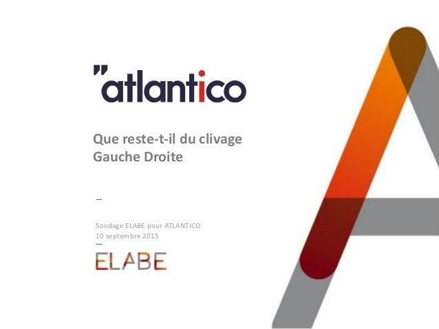 Sondage ELABE pour ATLANTICO 10 septembre 2015 Que reste-t-il du clivage Gauche Droite