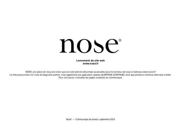 Lancement du site web                                                                      www.nose.fr                NOSE...