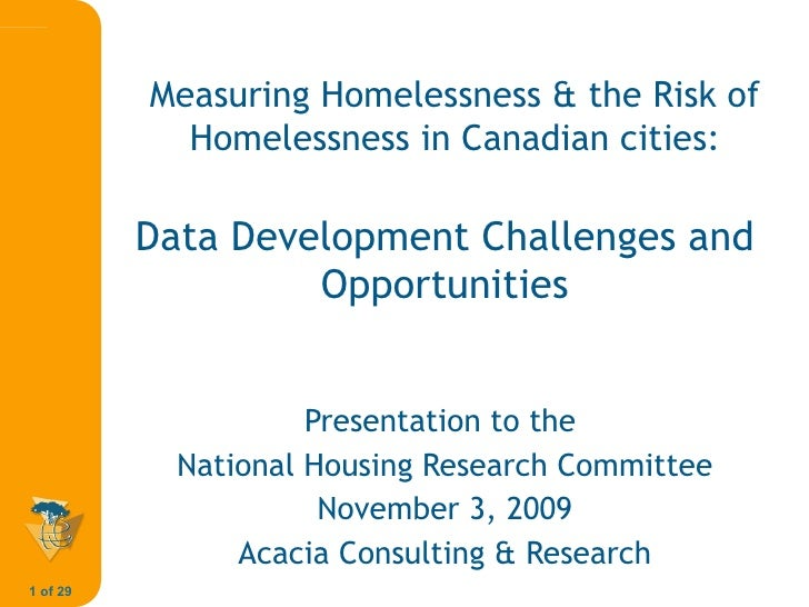 Measuring Homelessness and the Risk of Homelessness in Canadian Cities