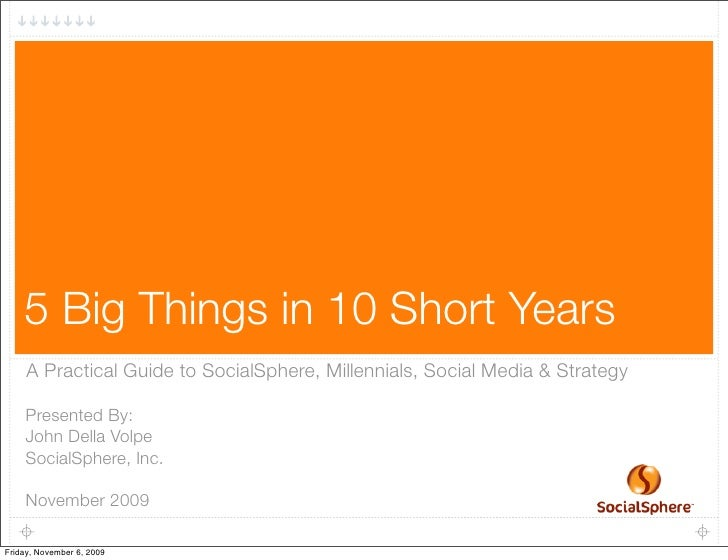 1         5 Big Things in 10 Short Years      A Practical Guide to SocialSphere, Millennials, Social Media & Strategy     ...