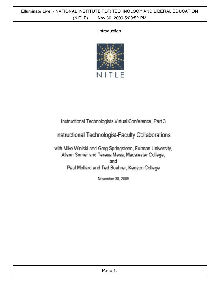 Elluminate Live! - NATIONAL INSTITUTE FOR TECHNOLOGY AND LIBERAL EDUCATION                          (NITLE)    Nov 30, 200...