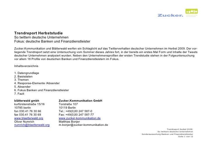 Trendreport Herbststudie So twittern deutsche Unternehmen Fokus: deutsche Banken und Finanzdienstleister  Zucker.Kommunika...