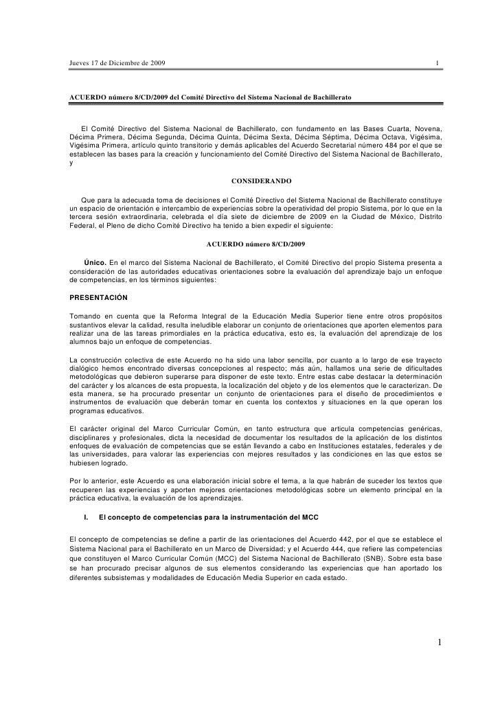 ACUERDO número 8/CD/2009 del Comité Directivo del Sistema Nacional de Bachillerato
