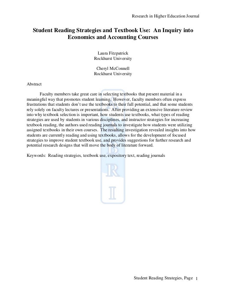 Research in Higher Education Journal   Student Reading Strategies and Textbook Use: An Inquiry into               Economic...