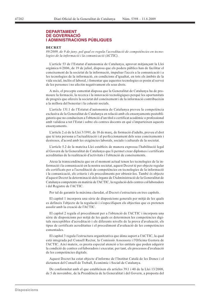 47202             DECRET              L'article 53 de l'Estatut d'autonomia de Catalunya, aprovat mitjançant la Llei      ...