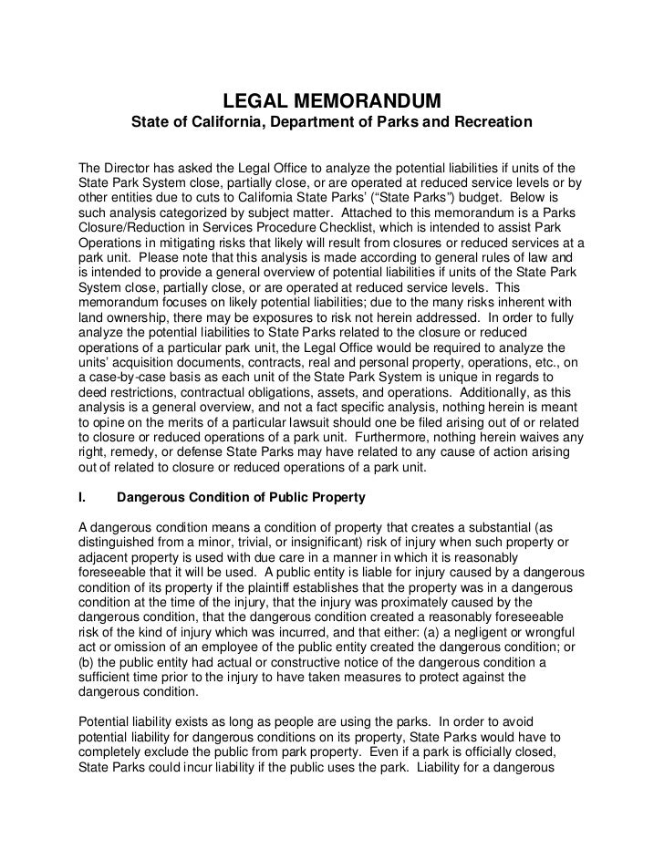 LEGAL MEMORANDUM         State of California, Department of Parks and RecreationThe Director has asked the Legal Office to...