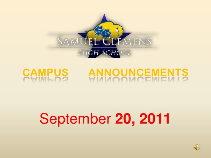 CAMPUS ANNOUNCEMENTS<br />September 20, 2011<br />