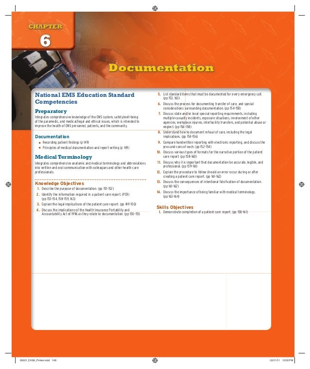 CHAPTER CHAPTER  6 Documentation National EMS Education Standard Competencies Preparatory Integrates comprehensive knowled...