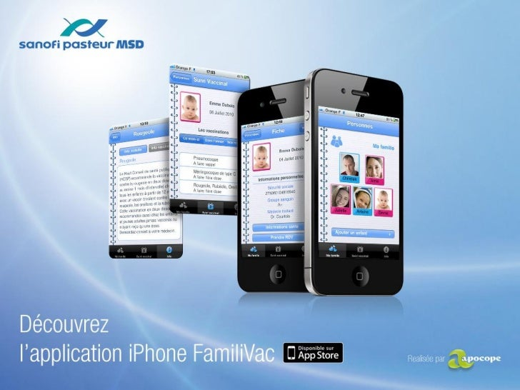 Application iPhone - FamiliVac SANOFI PASTEUR MSD