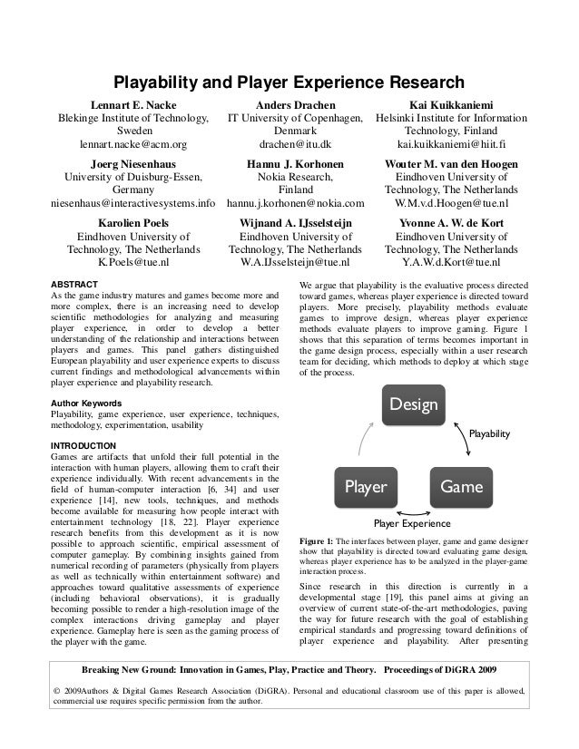Breaking New Ground: Innovation in Games, Play, Practice and Theory. Proceedings of DiGRA 2009 © 2009Authors & Digital Gam...