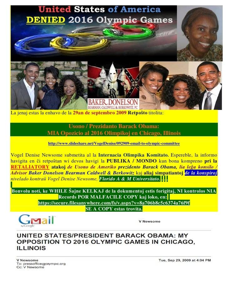La jenaj estas la enhavo de la 29an de septembro 2009 Retpoŝto titolita:                       Usono / Prezidanto Barack O...
