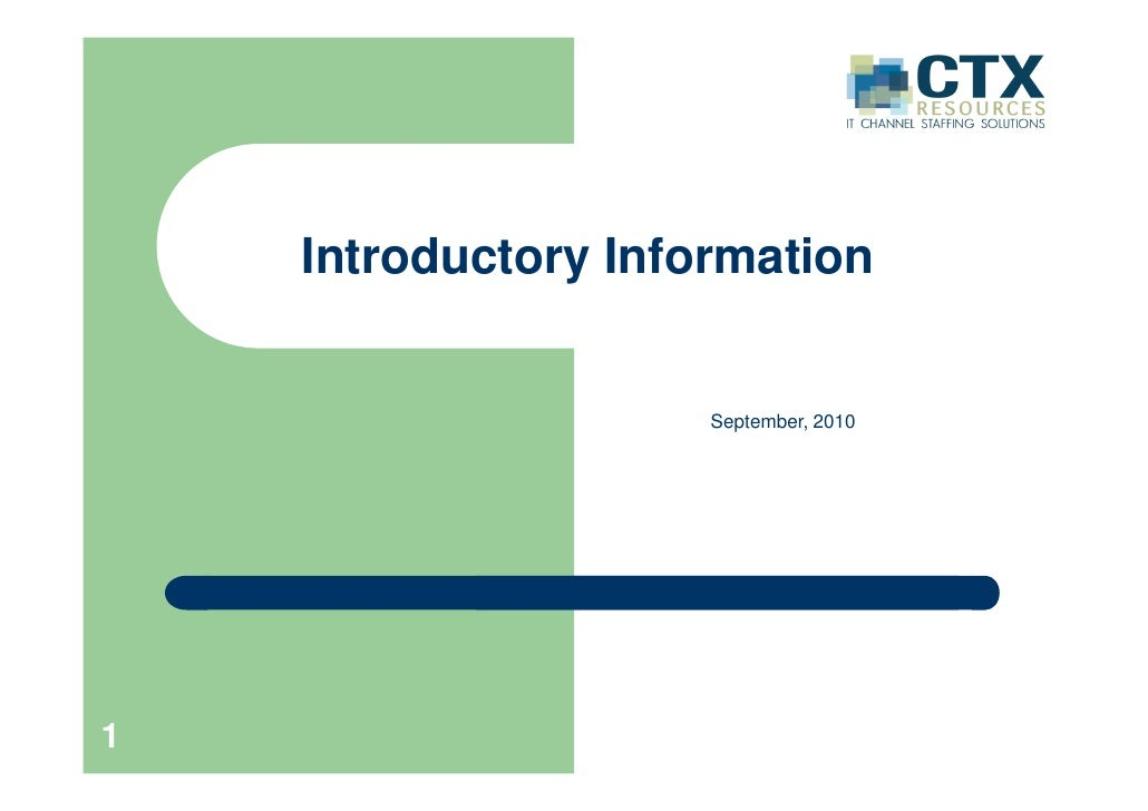 Introductory Information                        September, 2010     1