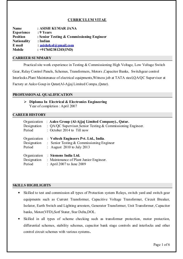asish cv electrical engineer testing and commissioning