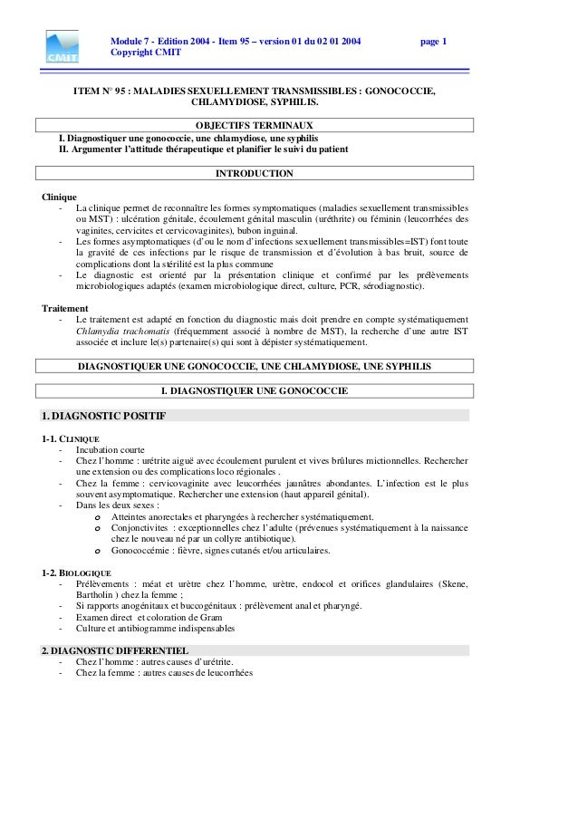 Module 7 - Edition 2004 - Item 95 – version 01 du 02 01 2004 page 1 Copyright CMIT ITEM N° 95 : MALADIES SEXUELLEMENT TRAN...