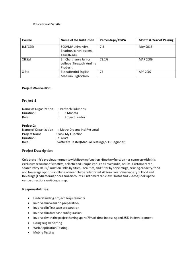 r manasa resume for software testing