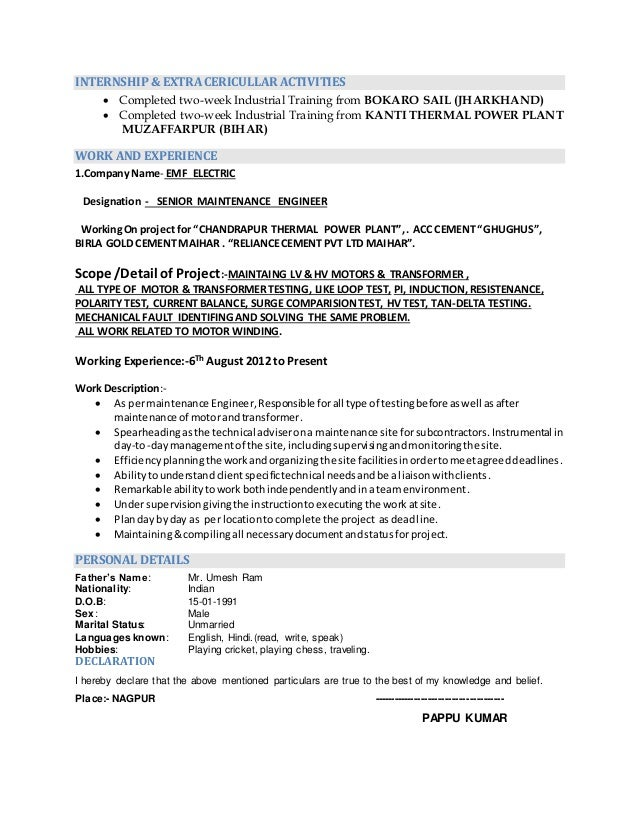 Resume mechanical engineer cement