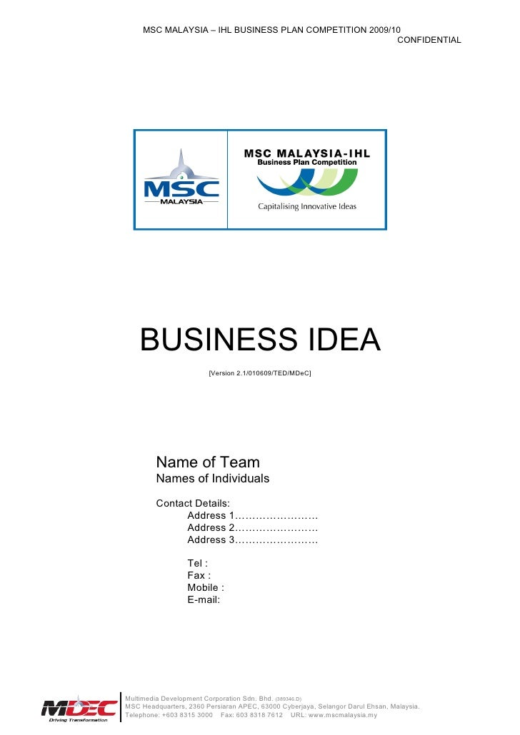 09765  M I B P C2009  Business  Idea  Submission  Template
