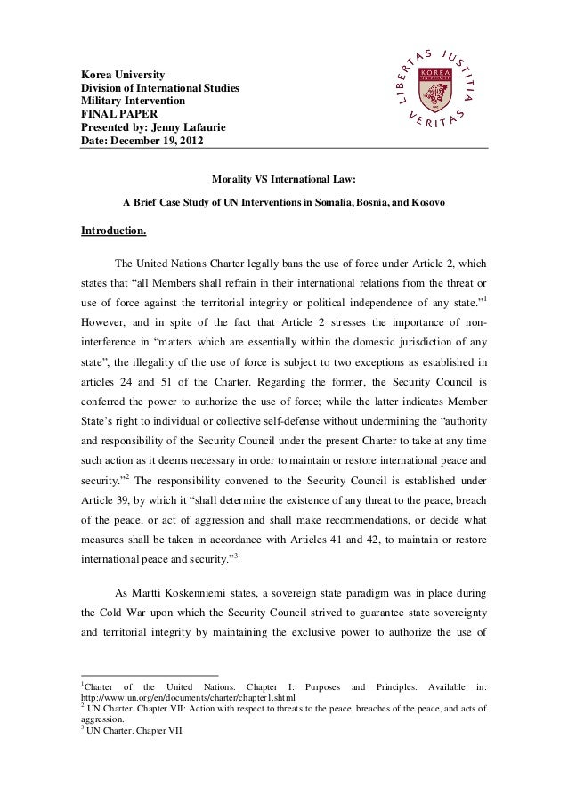 Argumentative research paper on military intervention