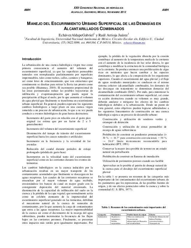 AMH  XXII CONGRESO NACIONAL DE HIDRÁULICA  AMH  ACAPULCO, GUERRERO, MÉXICO, NOVIEMBRE 2012  MANEJO DEL ESCURRIMIENTO URBAN...