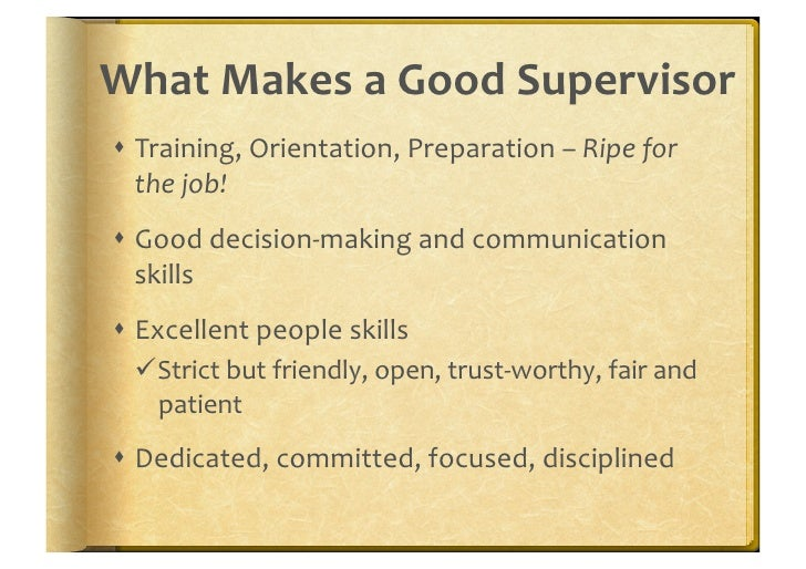 supervisor essay Job descriptions introduction this module will help you understand the purpose and components of essential the position, name and title of supervisor.