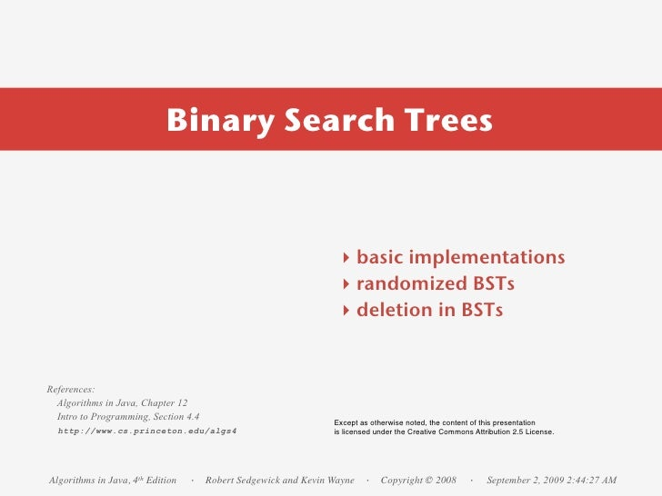 Binary Search Trees                                                                   ‣ basic implementations             ...