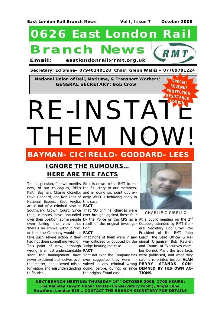 East London Rail Branch News                             Vol I, Issue 7             October 2008 0626 East London Rail Bra...