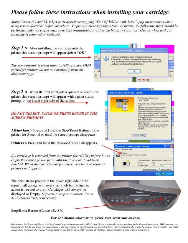 """Please follow these instructions when installing your cartridge. Many Canon PG and CL inkjet cartridges have nagging """"Out-..."""