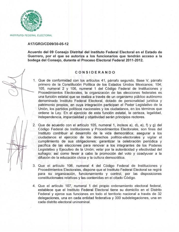 INSTITUTO FEDERAL ELECTORAL           A17/GRO/CD09/30-05-12           Acuerdo del 09 Consejo Distrital del Instituto Feder...